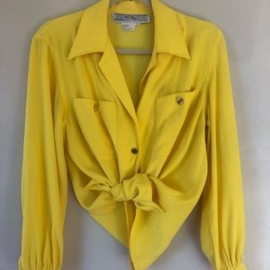 Vintage Bright Yellow Button Down Blouse